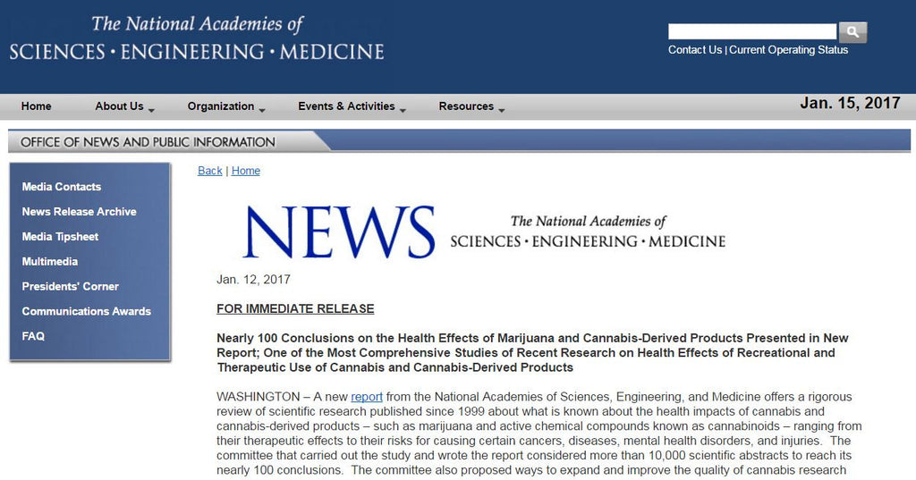 National Academy of Sciences presents positive evidence for using Cannabis for pain management and other conditions