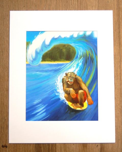 Surfing Monkey Print
