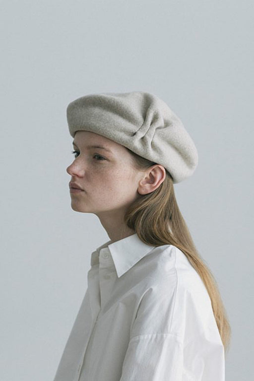 Beret Tuck&gather Rib Lamb Light Grey