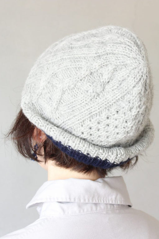 Slant Cutting Knit Felt Relief Cap Aran2 Lamb Light Grey