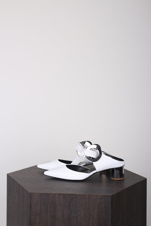 Front-tie Block-heel Leather Mules White
