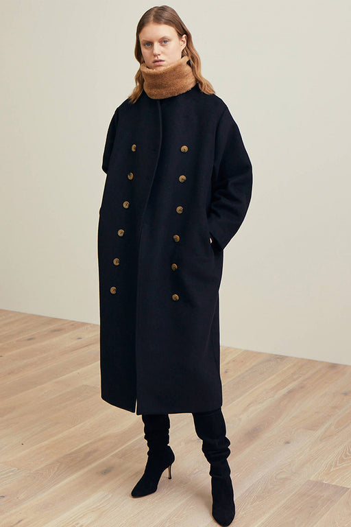 Long Wool Coat With Overlapping Buttoning Closure