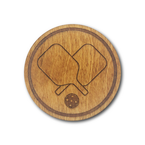 Premium Wood Drink Coasters (6-Pack) - Pickleball Paddles