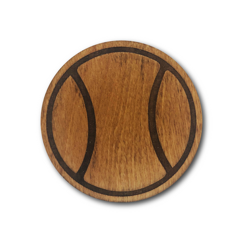Premium Wood Drink Coasters (6-Pack) - Tennis Ball