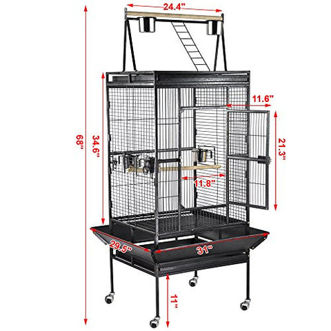 "68"" Large Bird Play Top Parrot Finch Cage Macaw Cockatoo Pet Supply 3 Doors"