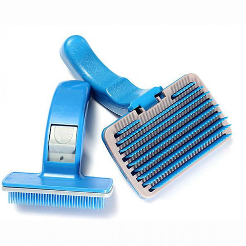 Blue Pet Brush with Automatic Hair Release