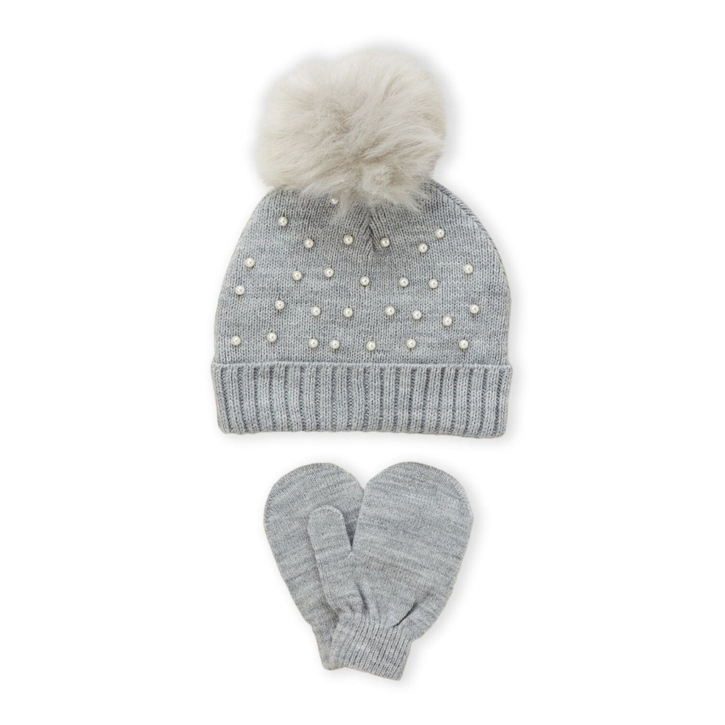 Two-Piece Grey Faux Pearl Beanie & Mittens Set