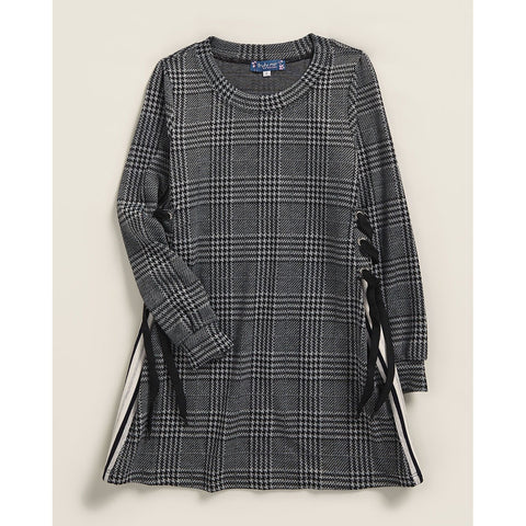 Glen Plaid Knit Lace-Up Dress