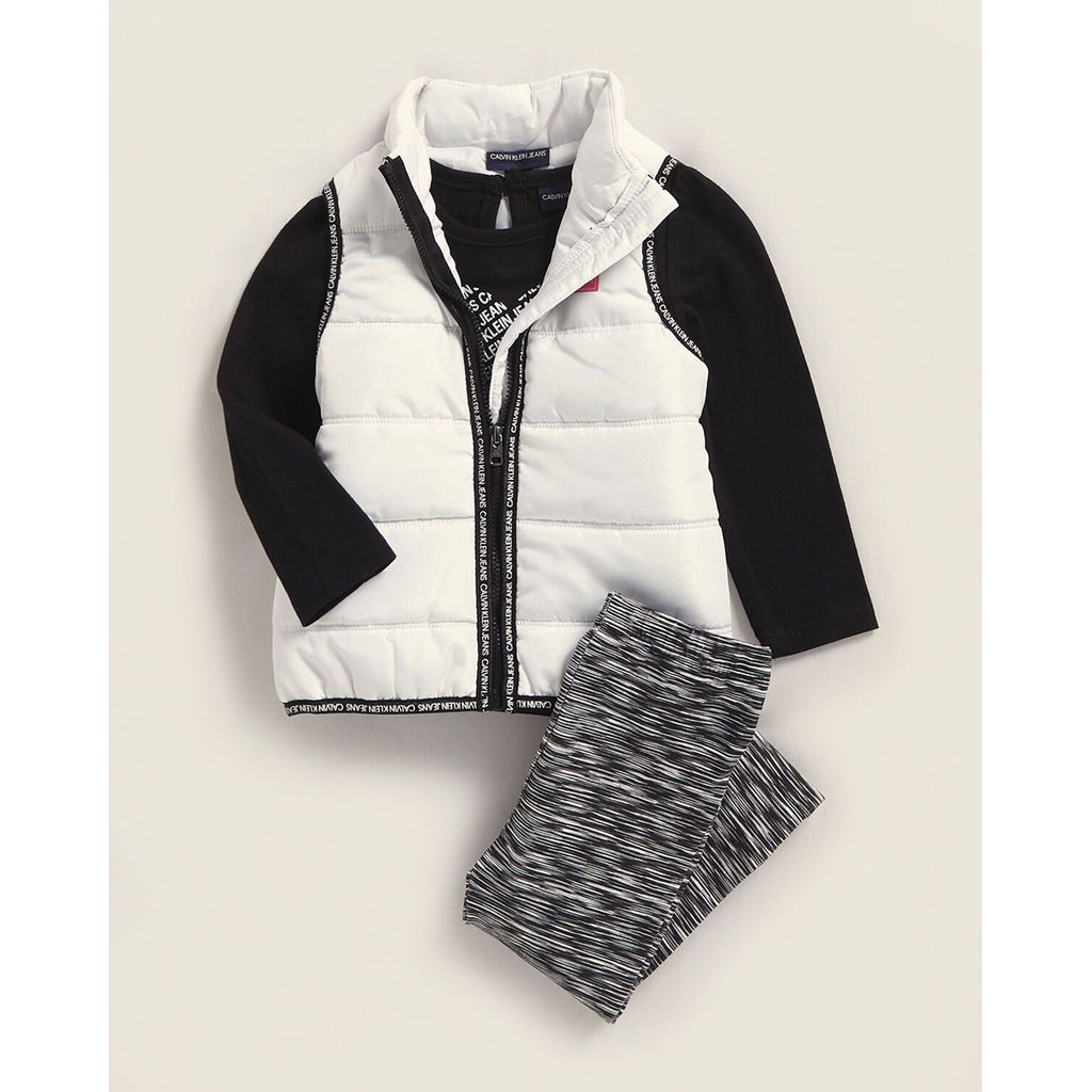 3-Piece Puffer Vest & Stripe Print Leggings Set