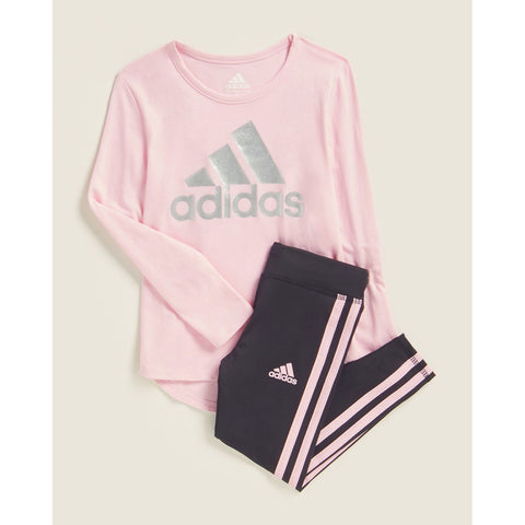 Two-Piece Long Sleeve Logo Tee & 3-Stripe Leggings Set