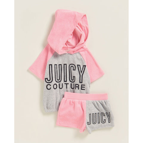 Two-Piece Color Block Terry Hoodie & Shorts Set
