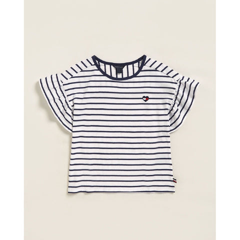 White & Navy Striped Short Sleeve Tee
