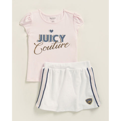 Two-Piece Pink Logo Tee & Terry Scooter Skirt Set