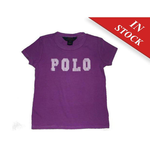 Ralph Lauren Girls' Appliqued Polo Cotton Tee, Purple