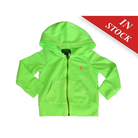 Ralph Lauren Polo Girl'S Hooded Sweat Jacket Hoodie Brilliant Green