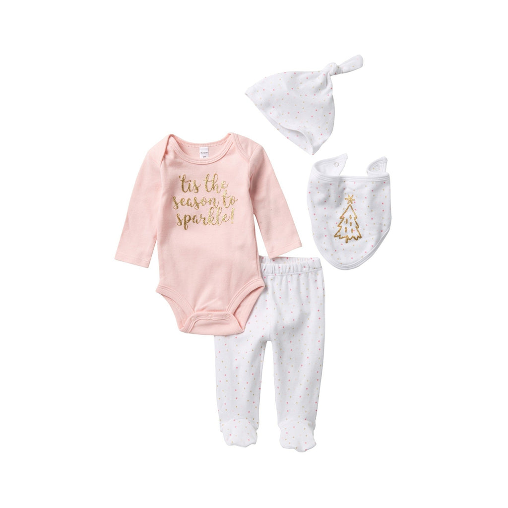 Bodysuit, Pants, Bib, & Hat Set