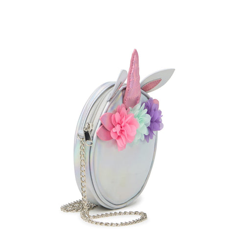 Round Unicorn Bag With Flowers