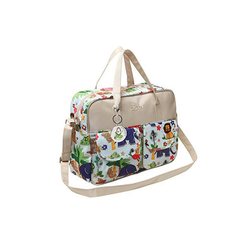 MG Collection Jungle Animals Top Handle Diaper Tote Bag