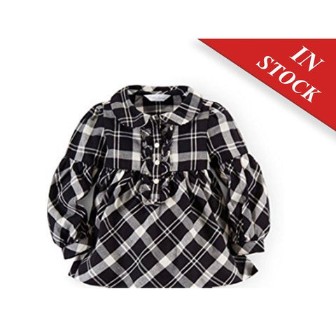 Ralph Lauren Baby Girls Plaid Top Cream & Black