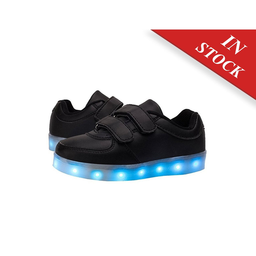 Eslla Unisex USB Charging Light Up Shoes for Toddler and Little Kid-Black