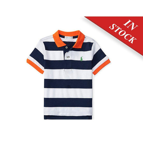 Striped Cotton Mesh Polo