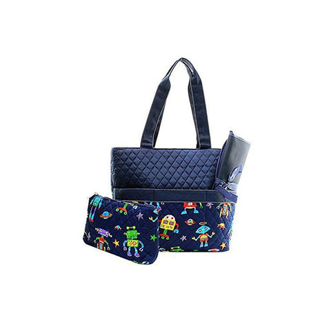 Quilted Robot Print Monogrammable  Diaper Bag With Changing Pad Tote Bag