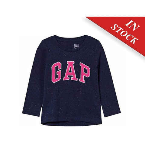Gap Kids Navy And Pink Logo Long Sleeve Tee