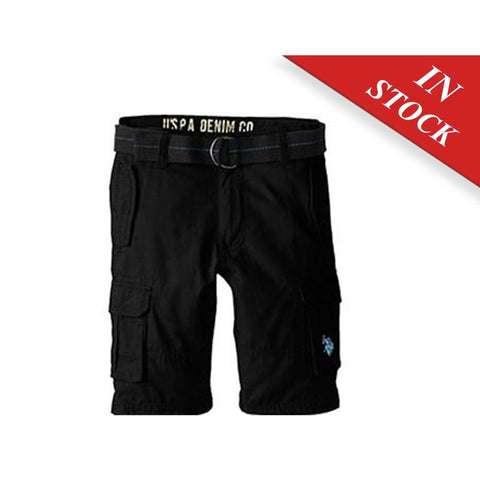 U.S. Polo Assn. Boys' Solid Cargo Short With Belt