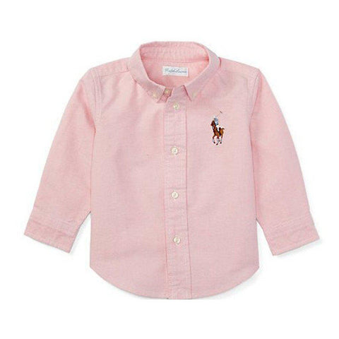 Ralph Lauren Girls Big Pony Cotton Oxford Shirt Pink