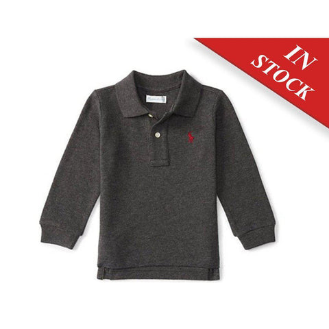 Cotton Mesh Long-Sleeve Polo