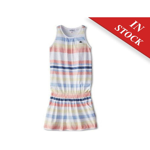 Lacoste Girls Striped Sunwashed Tank Dress