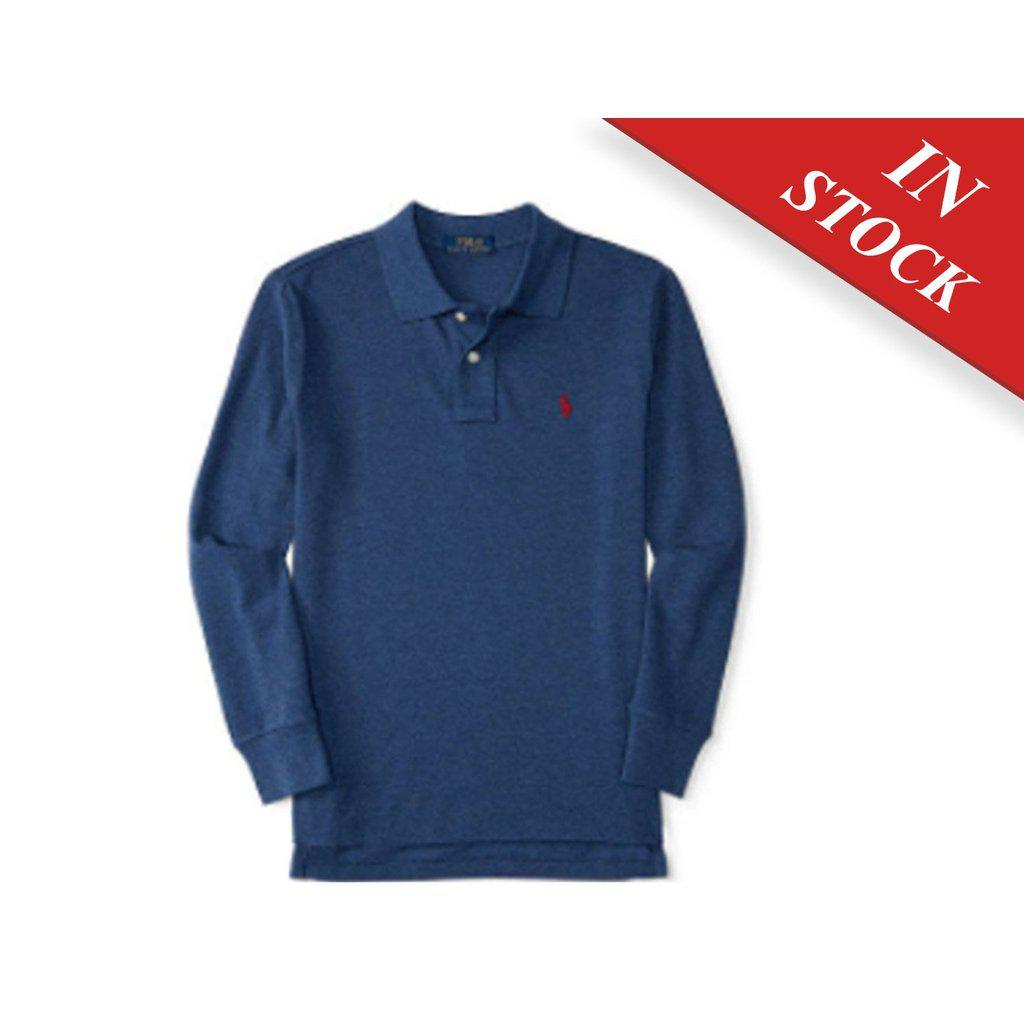 Cotton Mesh Long-Sleeve Polo - Navy Heather