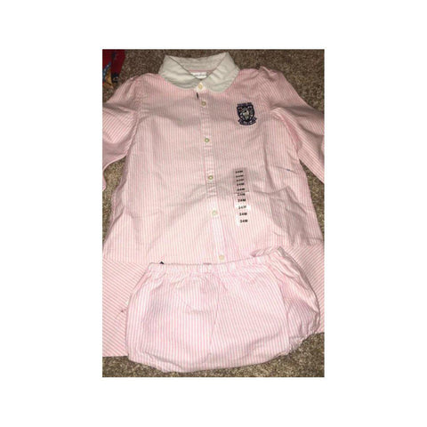 Ralph Lauren Baby Girls' Cotton Oxford Dress & Bloomer Set Pink