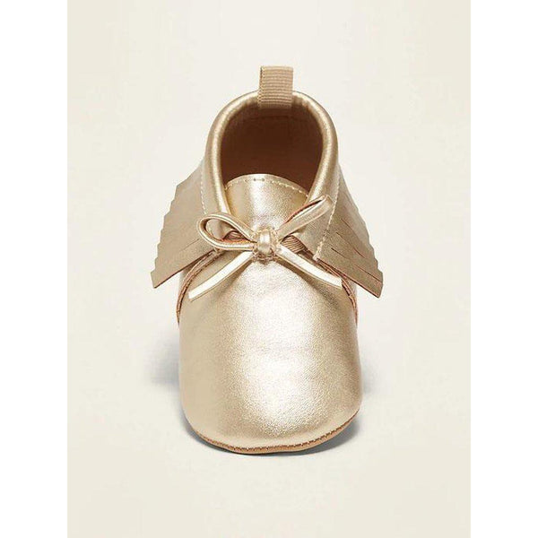 Metallic Faux-Leather Moccasin Booties for Baby