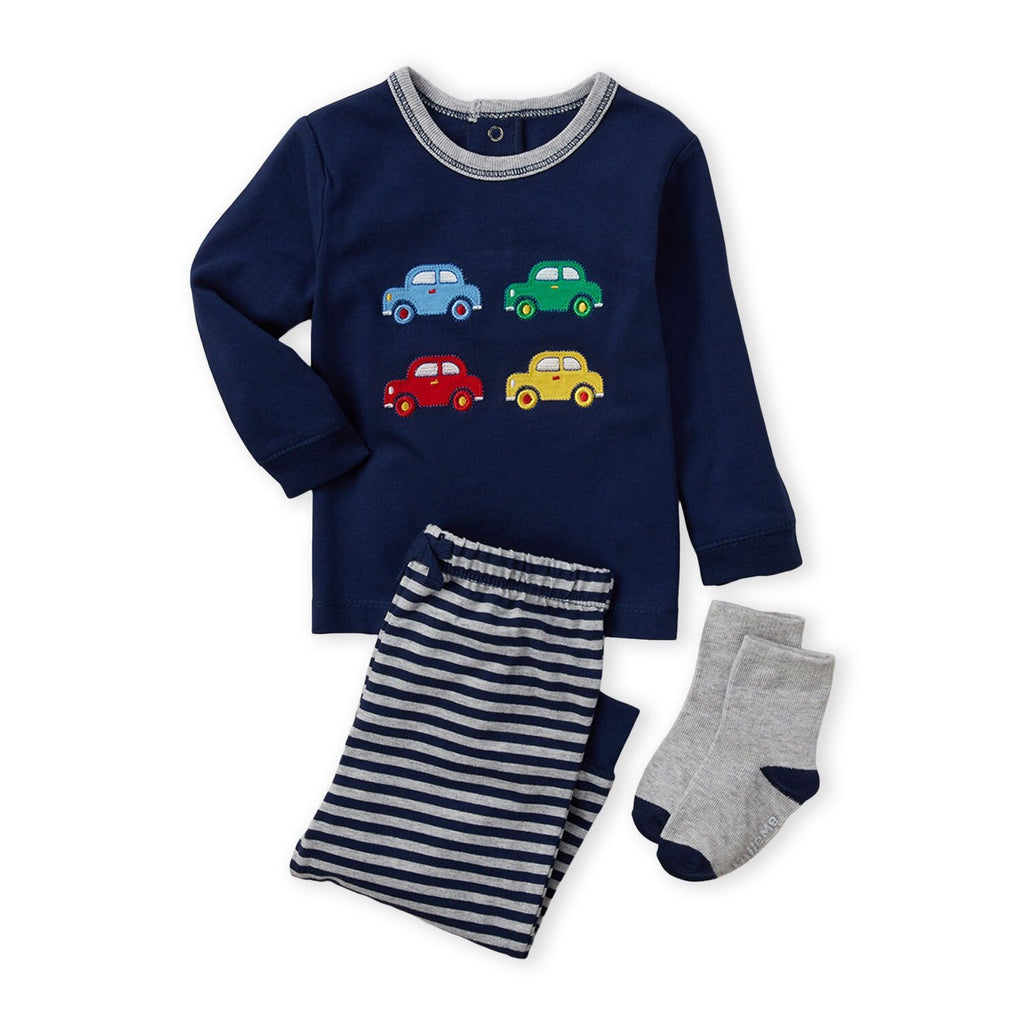 3-Piece Cars Tee & Striped Joggers Set