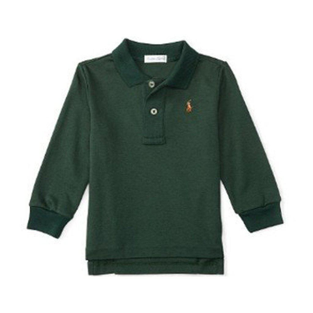 Ralph Lauren Baby Boys Pima Cotton Long Sleeve Polo Green Forest