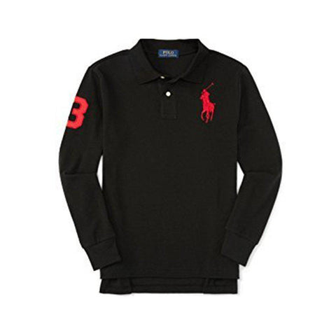 Long Sleeve Big Pony Polo, Polo Black