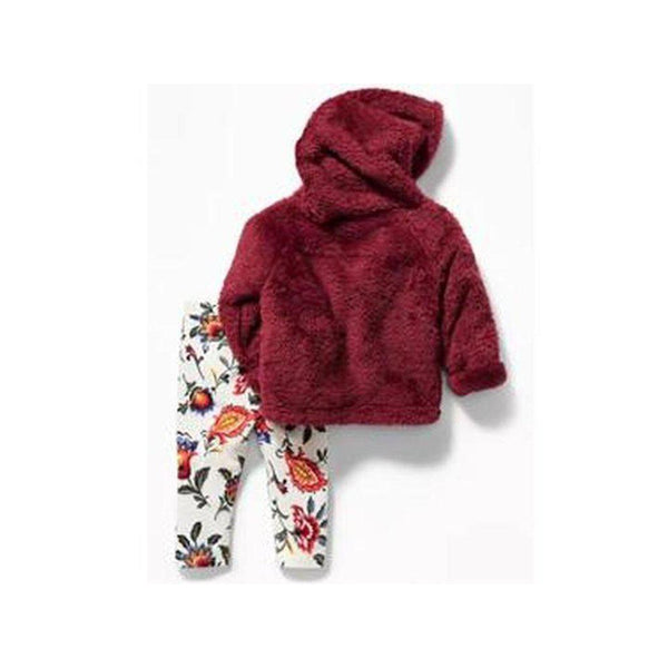 Faux-Fur Hoodie & Leggings Set For Baby