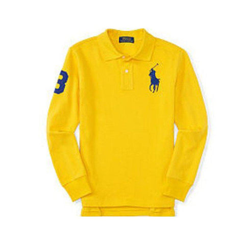 Long Sleeve Big Pony Polo, Slicker Yellow