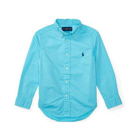 Ralph Lauren Blake Cotton Oxford Shirt Long Sleeves, French Turquoise
