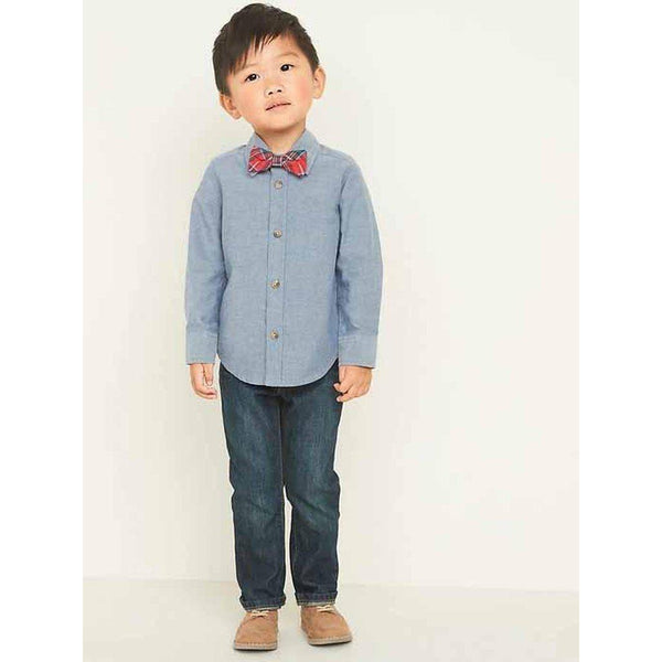 Chambray Oxford Shirt & Plaid Bow-Tie Set for Toddler Boys