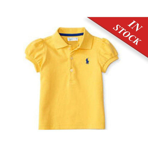 Puff-Sleeve Cotton Polo Shirt, Chrome Yellow