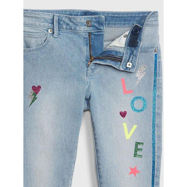 Kids Glitter Graphic Skinny Jeans with Fantastiflex