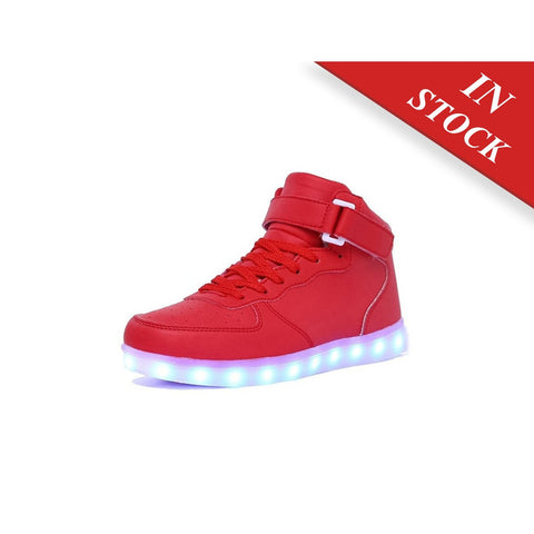 CIOR High Top Led Light Up Shoes 11 Colors Flashing Rechargeable Sneakers Ankel Boots for Kids Boys Girls - BABYJOX