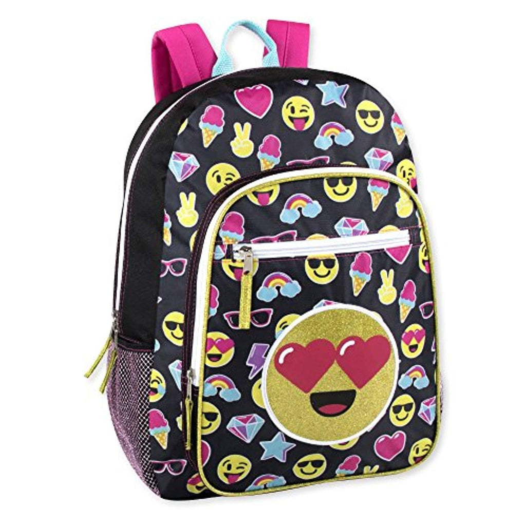 Girls Emoji Full Size 17 Inch Backpack With Bonus Keychain and Glitter Applique (Black)