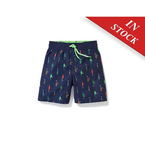 Fishing-Lure-Print Swim Trunks For Toddler Boys