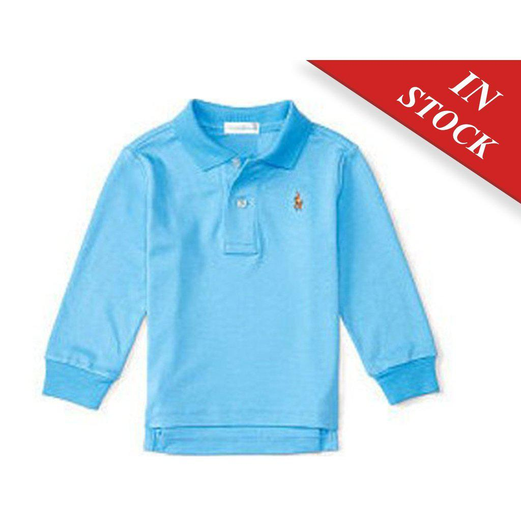 Ralph Lauren Baby Boys Pima Cotton Long Sleeve Polo Blue