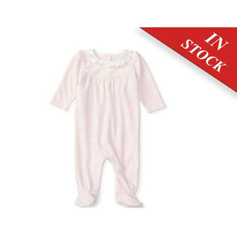 Ralph Lauren Baby Girls Ruffled Velour Coverall, Fresh Pink