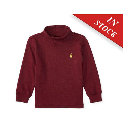 Ralph Lauren Cotton Interlock Turtleneck, Classic Wine