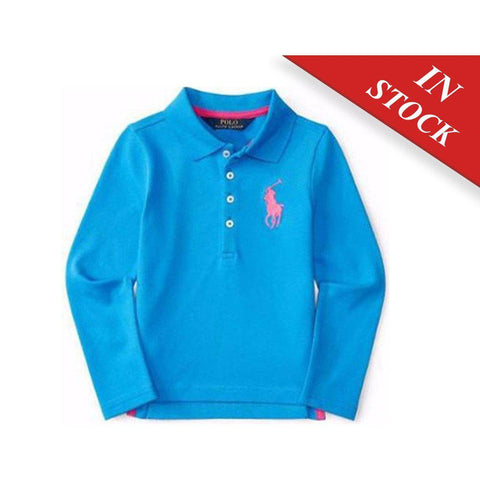 Ralph Lauren Girls Big Pony Stretch Mesh Polo, Cirrus Blue